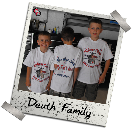 Customized Military Homecoming T-shirts - for Army, Navy, Air Force, National Guard and Marine Corps families.