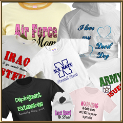 Our Cafepress Shop - Customized Military Homecoming banners. Welcome Home T-shirts! USMC, USAF, USA, USNG, USCG, USN, Family Gifts, Armed Forces, T-shirts, Banners, Yard Signs, Cards, Mugs, Pillows, Personalized, Customized